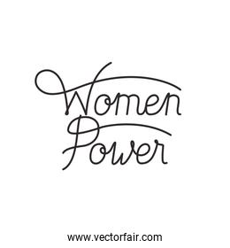 women power label isolated icon