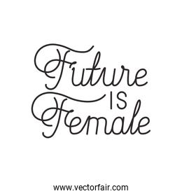 future is female label isolated icon