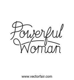 powerful woman label isolated icon