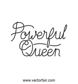 powerful queen label isolated icon