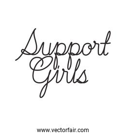 support girl label isolated icon