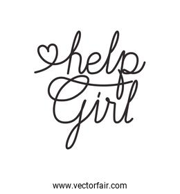 help girl label isolated icon