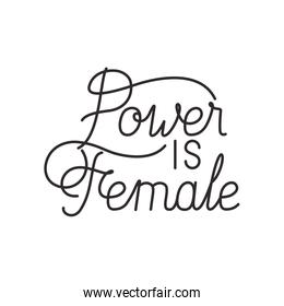 power is female label isolated icon