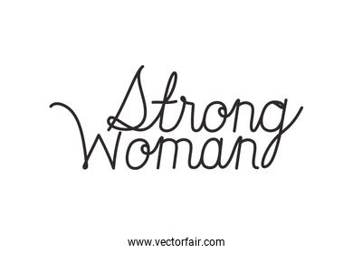 strong woman label isolated icon