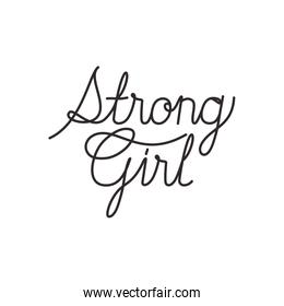 strong girl label isolated icon
