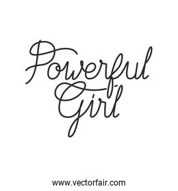 powerful girl label isolated icon
