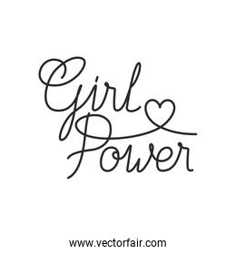 girl power label lettering isolated icon