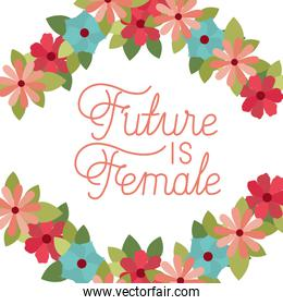 future is female label with flower frame isolated icon