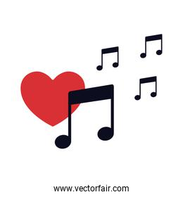 red heart with musical note isolated icon