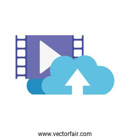 download cloud with objects isolated icon