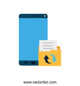 screen smartphone with folder files isolated icon