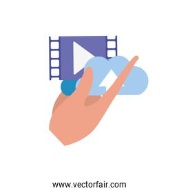 hand with cinema frame isolated icon