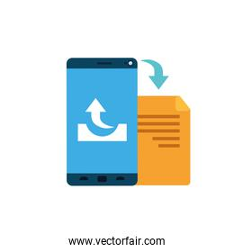 screen smartphone with folder files icon