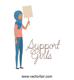 women with label support girl character