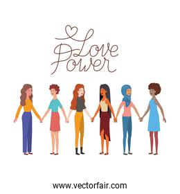 women with label love power avatar character