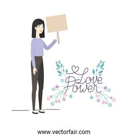 woman with label love power character
