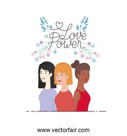 women with label love power character