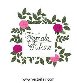 female future label with roses frame icons