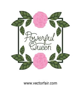 powerful queen label with roses frame icons
