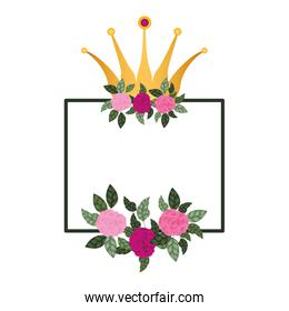 frame with flowers and crown isolated icon