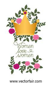 women love women label with roses isolated icon