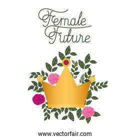 female future label with roses isolated icon