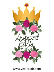 support girl label with roses isolated icon