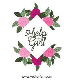 help girl label with roses frame icons