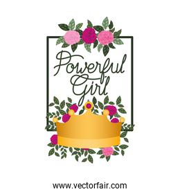 powerful girl label with roses frame icons