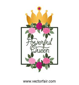 forever queen label with roses frame icons
