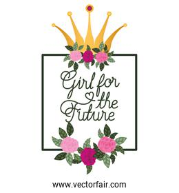 girl for the future label with roses frame icons