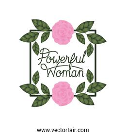 powerful woman label with roses frame icons
