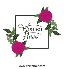 women power label with roses frame icons