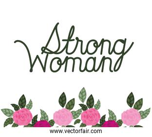 strong woman label with roses icons