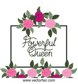 powerful queen label with flowers frame icons