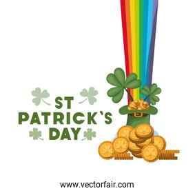 wishing you a happy st patricks day label with coins icons
