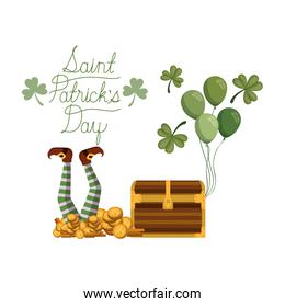 saint patrick`s day label with coins icons