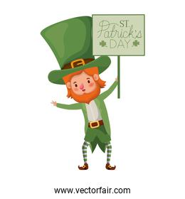 wishing you a happy st patricks day label with leprechaun character