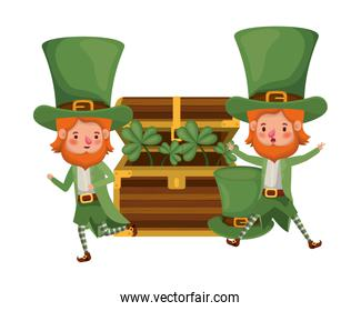 leprechauns with chest and coins character