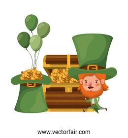 leprechaun with chest and coins character