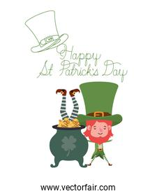 happy st patricks day label with leprechauns character