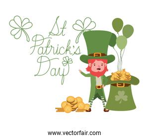 st patricks day label with leprechaun character