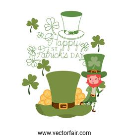 happy st patricks day label with leprechaun character