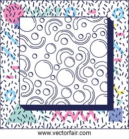 square frame colorfull figures and lines ninetys pattern