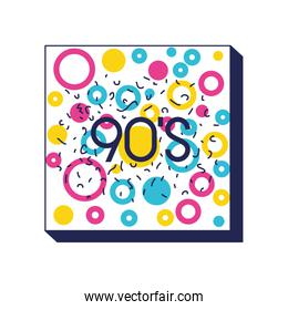 square frame colorfull figures and 90 number ninetys pattern