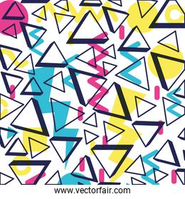 colorfull geometrics figures and lines ninetys pattern