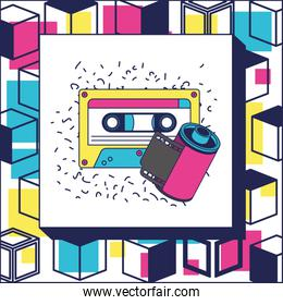 retro roll photographic and cassette ninetys icon
