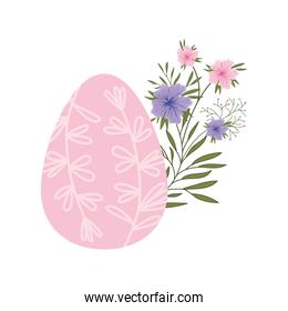 easter egg flowers and leafs isolated icon
