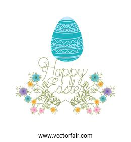 happy easter label isolated icon