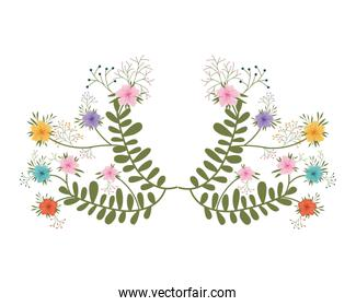 garland with flowers and leafs isolated icon